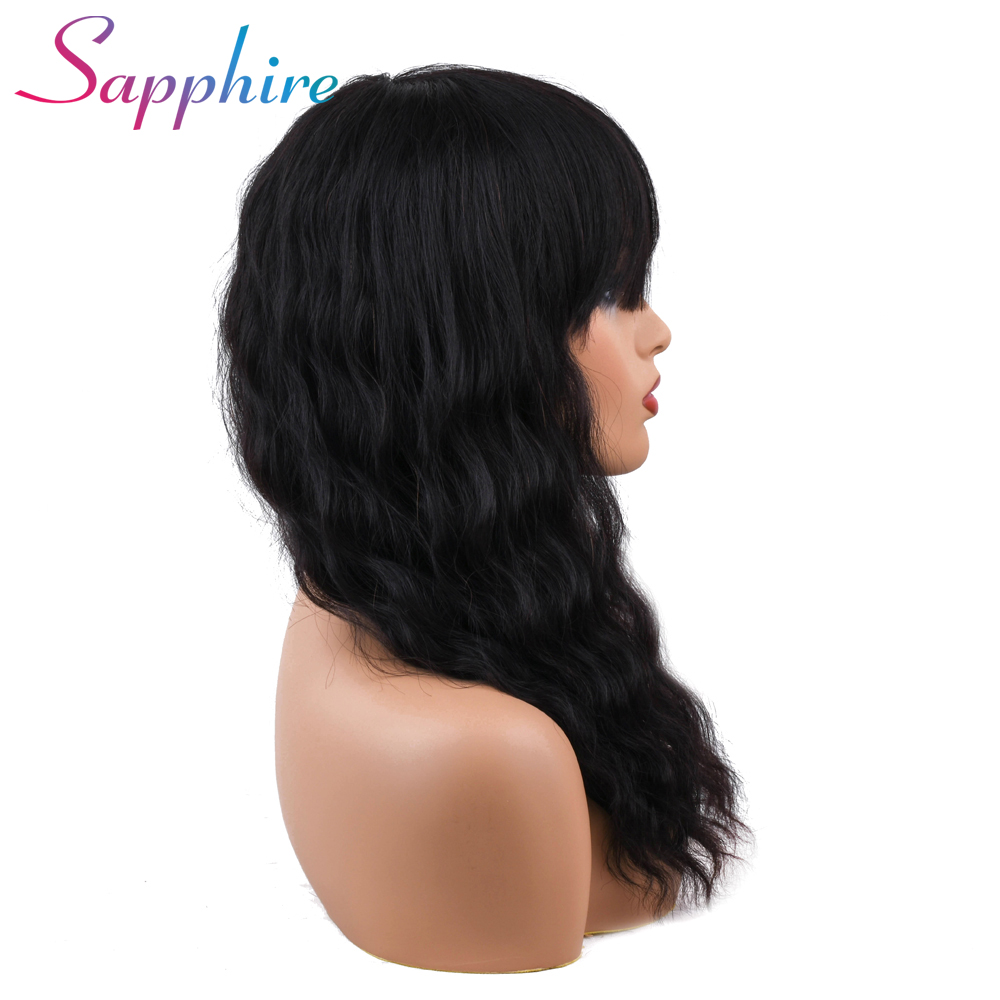 Humorous Sapphire Malaysian Ocean Wave Human Hair Wigs With Adjustable Bangs 14inch Short Wigs Machine Natural Color Non Remy Wigs Neither Too Hard Nor Too Soft Human Hair Lace Wigs