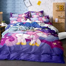 3D Digital Printing Rainbow Unicorn Fairytale with Sparkling Stars Bedding Sets 100% Microfiber Black Background