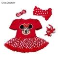 Симпатичные Минни Baby Girl Dress Горошек Младенческой Кружева Пачки набор Повязка Обувь и Вязаные Гамаши Халат Де Bebe Малышей День Рождения наряды