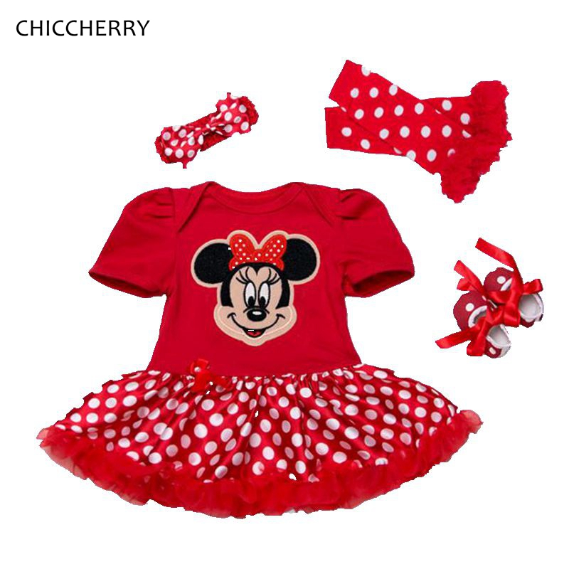 Cute Minnie Baby Girl Dress Polka Dots Infant Lace Tutu Set Headband Shoes & Legwarmers Robe De Bebe Toddler Birthday Outfits crown princess 1 year girl birthday dress headband infant lace tutu set toddler party outfits vestido cotton baby girl clothes