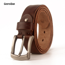 GEERSIDAN 2019 cow genuine leather luxury strap male belts for men new fashion classice vintage pin buckle belt High Quality