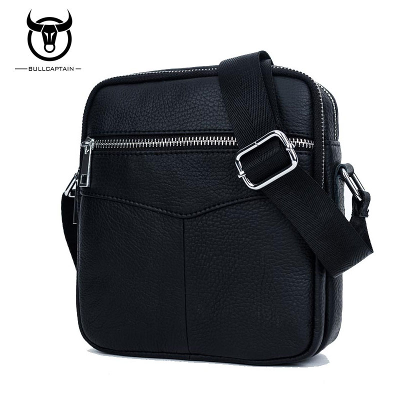 BULL CAPTAIN 2017 Fashion Genuine Leather Shoulder bag men causal Crossbody Bags Small Brand double Zipper Male Messenger Bags bull captain2017 fashion genuine leather crossbody bags men small brand music messenger bags male shoulder bag chest bag for men