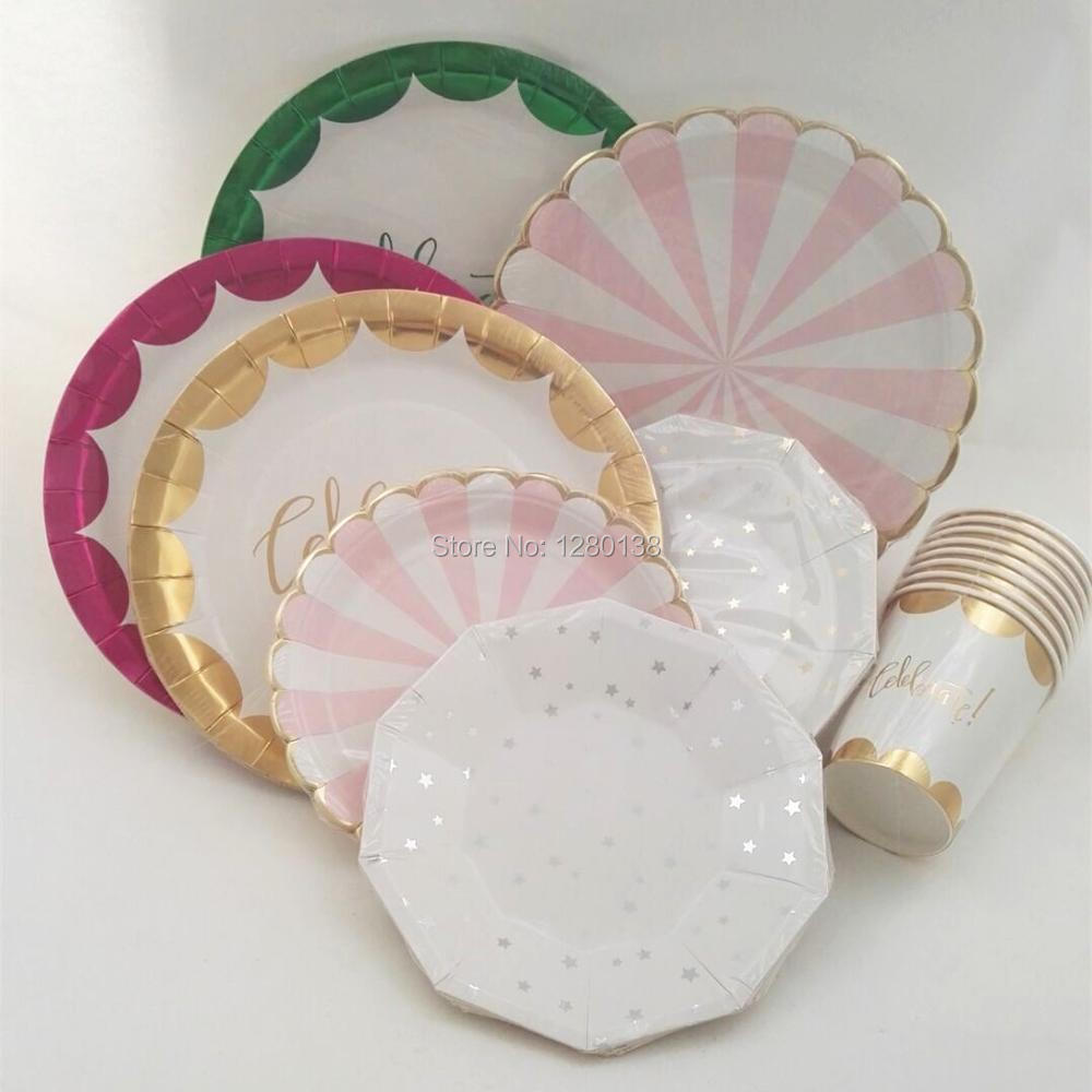 Disposable Metallic Gold Party Tableware Pink Green Gold Celebrate Paper Plates Wedding Christmas Favor Gold Scallop Paper Cups on Aliexpress.com | Alibaba ... & Disposable Metallic Gold Party Tableware Pink Green Gold Celebrate ...