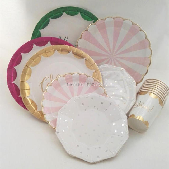 pink and green paper plates pink gold and seafoam green paper plates set of 12 small hexagon. Black Bedroom Furniture Sets. Home Design Ideas