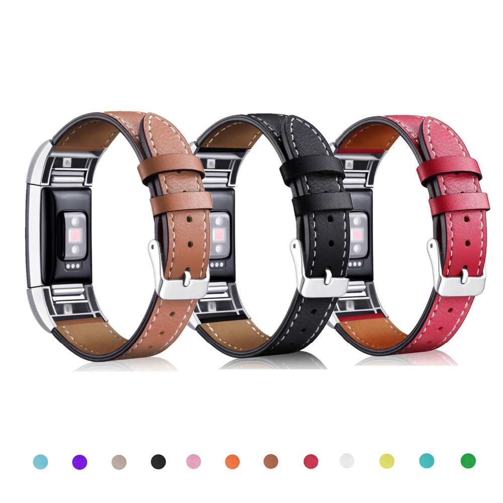 Genuine Leather strap for fitbit charge 2 band Bracelet leather Watchband Replacement wristband wrist correa for fitbit charge2 jansin 22mm watchband for garmin fenix 5 easy fit silicone replacement band sports silicone wristband for forerunner 935 gps