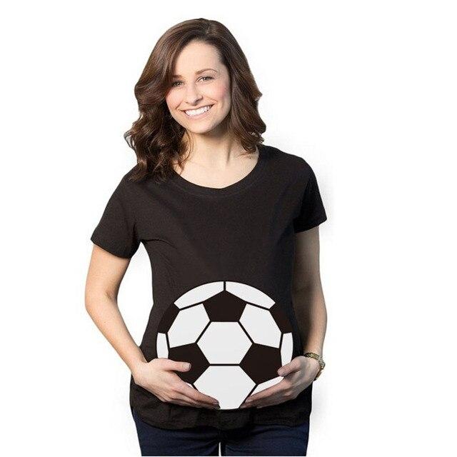 e389c89c63d 2017 Fashion Football Print funny maternity pregnant T shirts Women Cotton  Cute Pregnancy Maternity Clothes Summer T Shirt Women