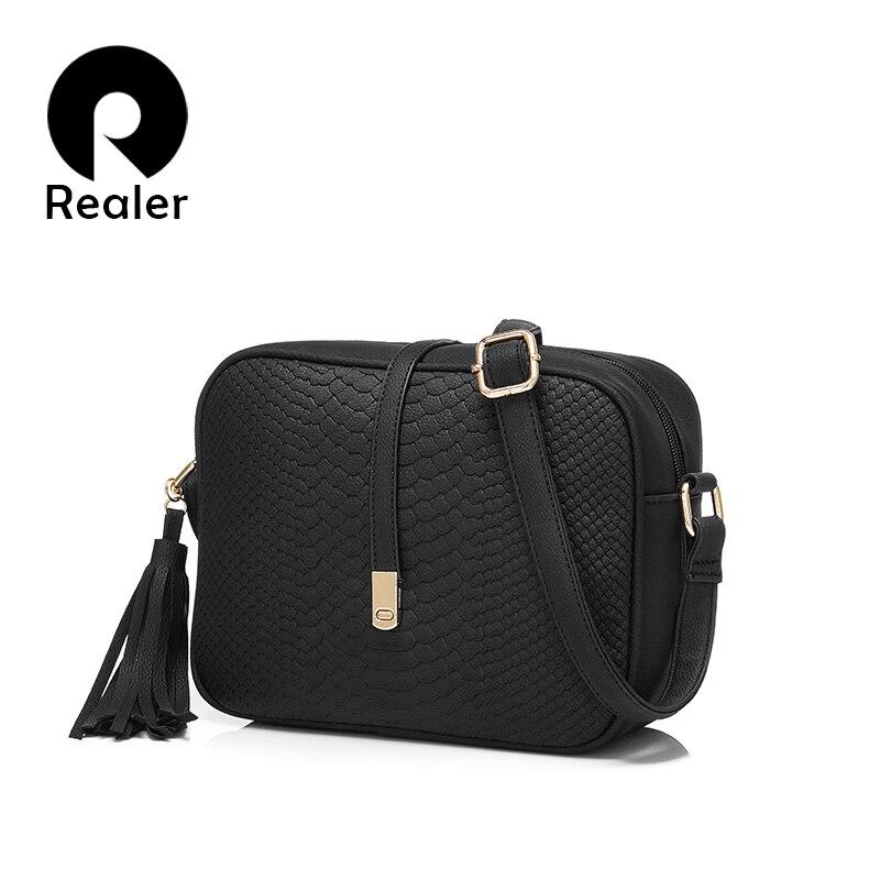 REALER  Small Shoulder Bag For Messenger Bags Ladies Retro PU Leather Handbag Purse With Tassels Female Crossbody Bag