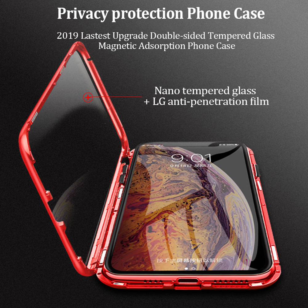 Outer Space - Privacy Magnetische Gehard Glas Case voor iPhone X XS MAX 8 7 Plus
