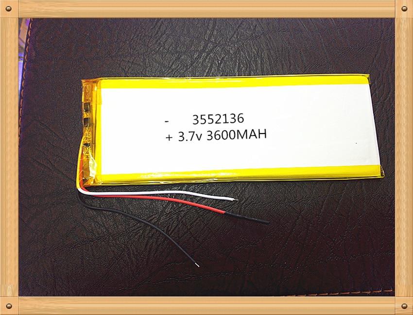 3552136 3.7 V Lithium Tablet Polymer Battery Tablet MID Panel 3600 Mah 3 Lines