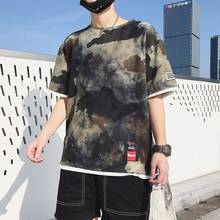 2019 Summer Trend Men Cool Casual Round Neck Camouflage T shirt Fashion Fake Two Pieces Hip Hop Mens Half Sleeved Shirt