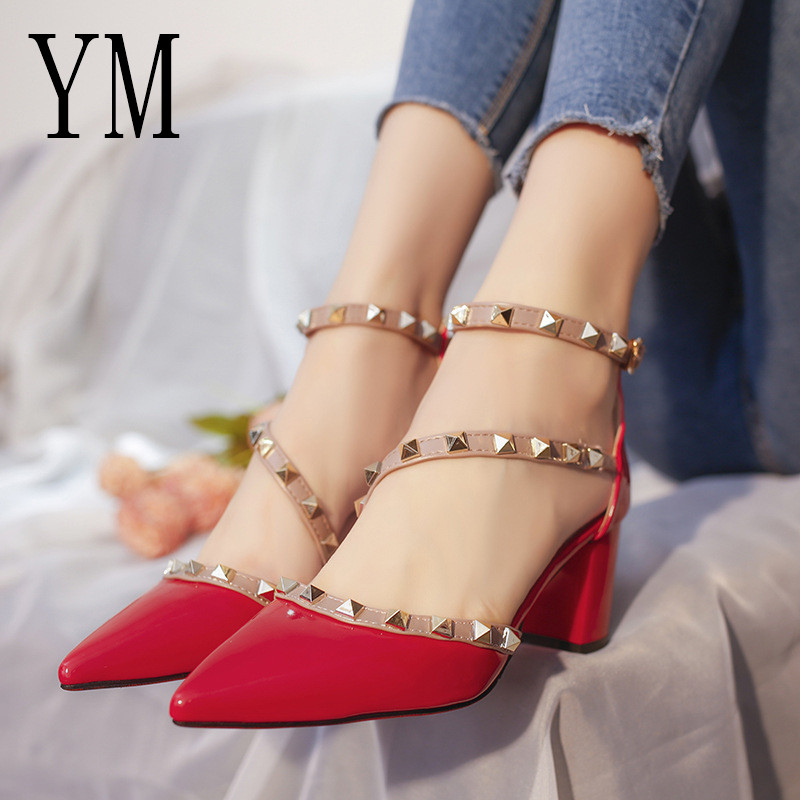 2019 Gladiator Sandals Pointed Toe Women Shoes Sexy Rivets Pointed Toe Pumps Womens Ladies Shoe Zapatos Mujer High Heels Wedding