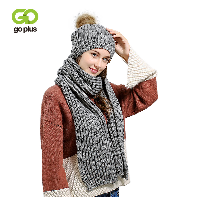 GOPLUS 2019 Fashion Spring Winter Knitted Hat Scarf Sets Women Fur Pompom Hat Thick Cotton Warm Skullies Beanies Female Scarves