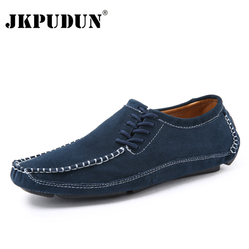 JKPUDUN Handmade Men Shoes Casual Luxury Brand Genuine Leather Italian Men Loafers Moccasins Slip On Mens Boat Shoes Plus Size