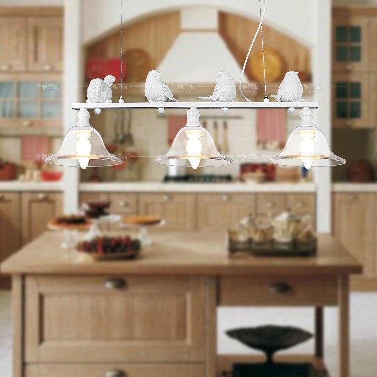 Modern Home Decoration 3 Head Bird Light Dining Room Pendant Light Glass Iron Light Bar Light Free Shipping