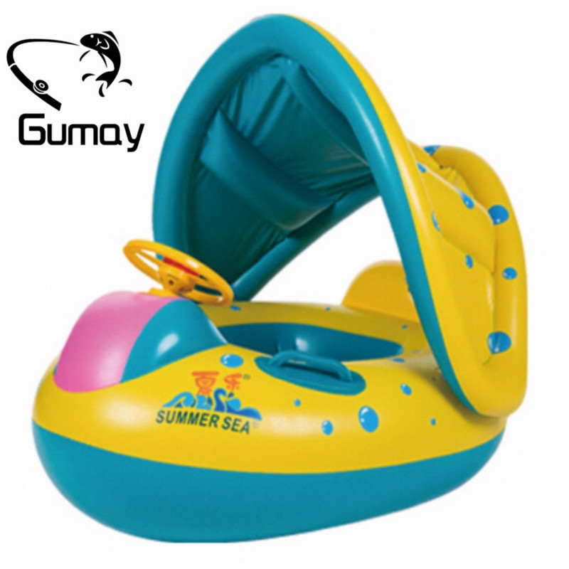 Gumay High Quality Safety Baby Infant Swimming Float Inflatable Adjustable Sunshade Seat Boat Ring Swim Pool dual slide portable baby swimming pool pvc inflatable pool babies child eco friendly piscina transparent infant swimming pools
