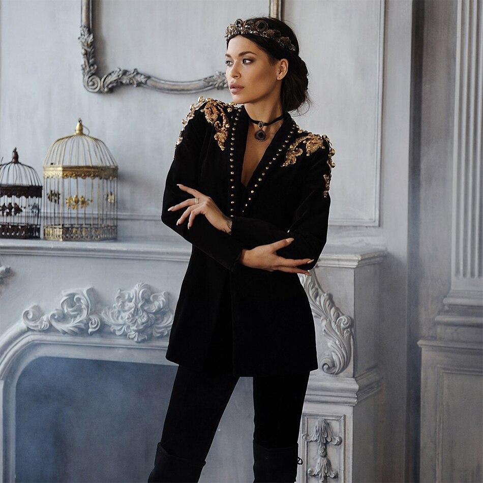 Celebrity Sexy V cou Date Élégant De Discothèque Noir Manches Piste Perles Ouvrir Femmes Longues Party Mode Manteau À Point ZPfqP5wv