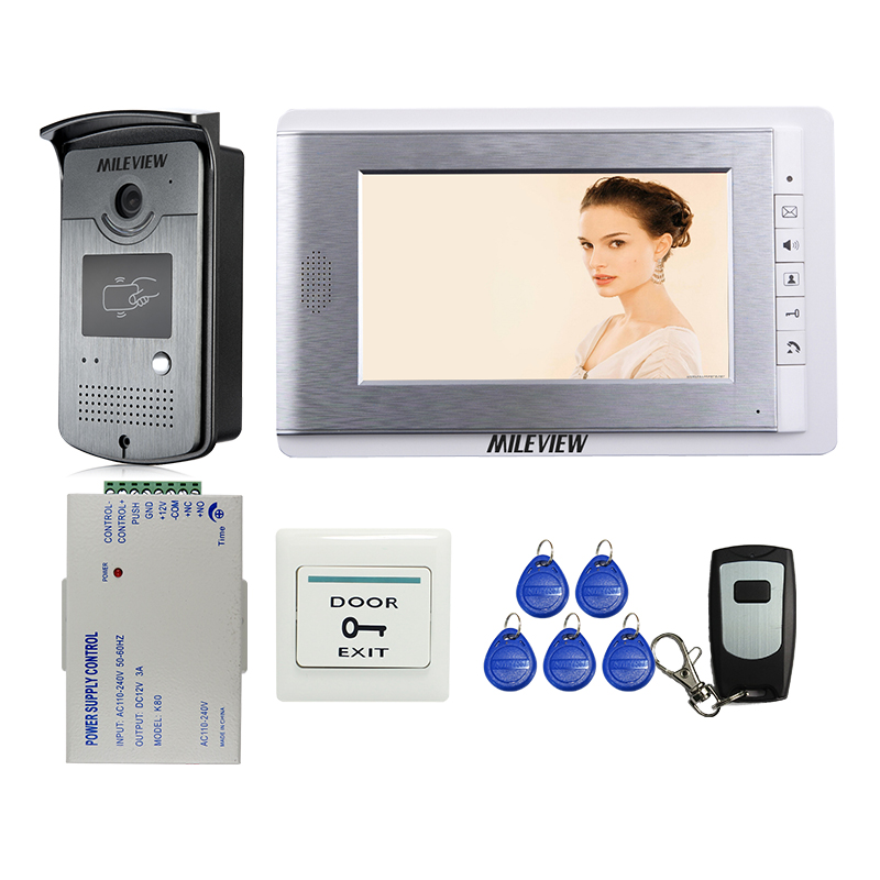 Brand New 7 Color Screen Video Door Phone Intercom System + RFID Card Access Camera + Power Supply Controller FREE SHIPPING 125khz rfid card access control video door phone system wired 7 inch color screen video door bell with rfid card reader