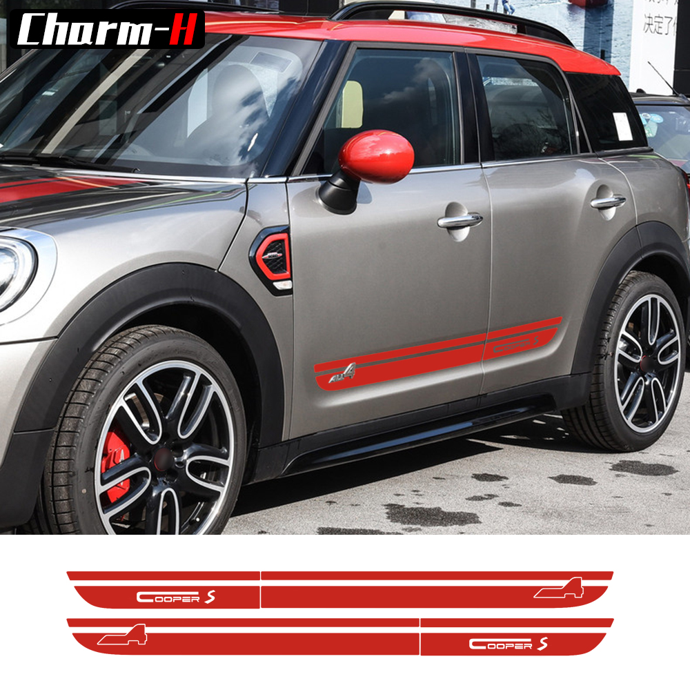 2 Pieces Side Stripes Skirt Sill Decal for Mini 2nd Generation Countryman F60 2017-Present Cooper S All4 Graphics Door Stickers