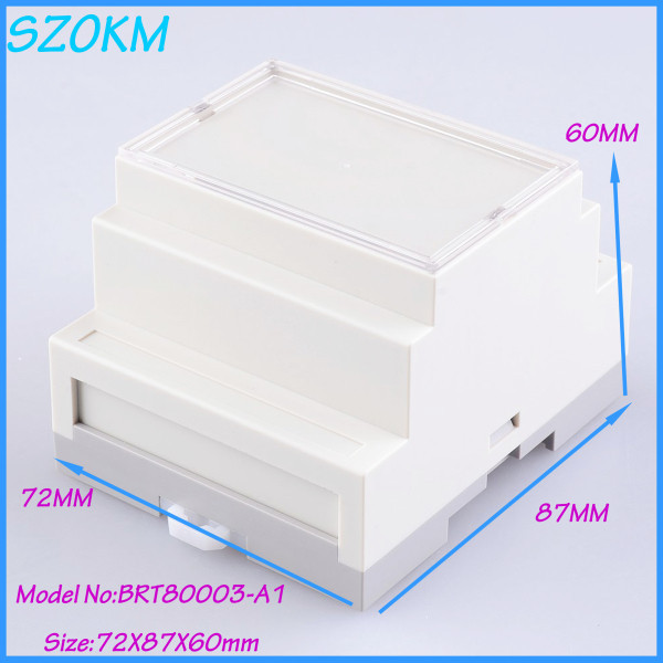1 piece free shipping din rail enclosure for pcb controller abs plastic circuit breaker box small plc industrial box72 x87x60 mm