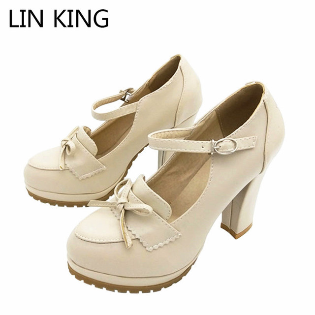 LIN KING Square Heel Women Pumps Ankle Strap Bowtie High Heel Shoes New Round Toe Buckle Short Platform Shoes Sexy Party Shoes