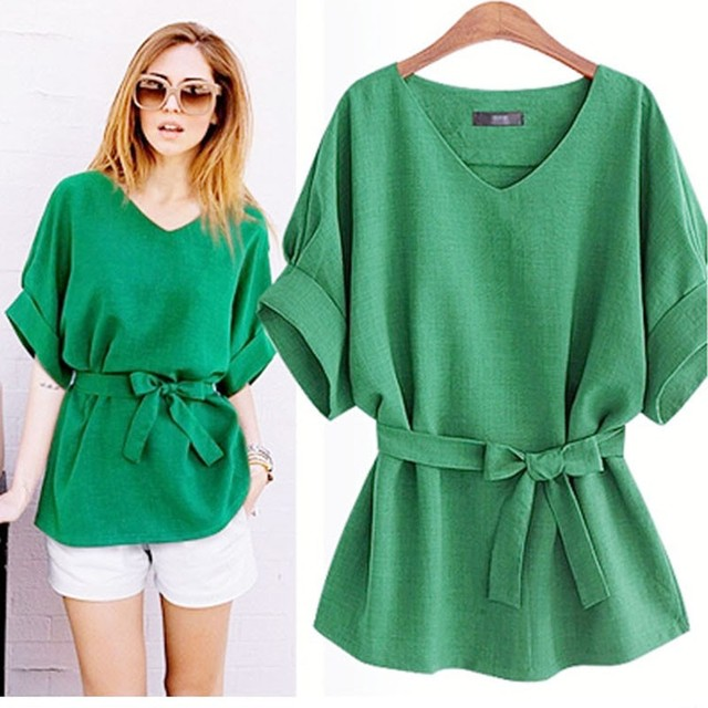 167ce388fee8e European Ladies Cloth Women Cotton Linen Tunic Shirt V Neck Loose Shirt  Summer Tops With Belt