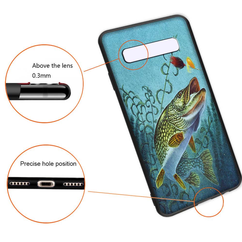 Pike Ikan Seni Memancing Umpan Soft Case untuk Samsung Galaxy S10 Plus S10e S7 S6 Edge S8 S9 Plus J6 cover