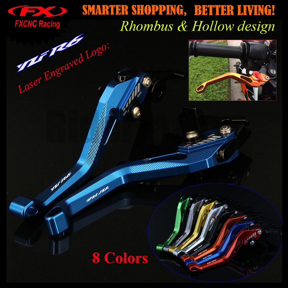 Laser Logo 3D Rhombus Hollow Design patent For YAMAHA YZFR6 YZF R6 2017 CNC Blue Black Adjustable Motorcycle Brake Clutch Levers 6 colors cnc adjustable motorcycle brake clutch levers for yamaha yzf r6 yzfr6 1999 2004 2005 2016 2017 logo yzf r6 lever