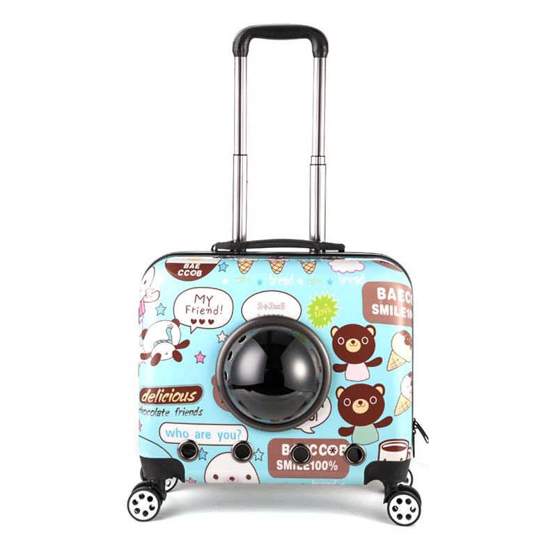 18'' Pet carrier rolling spinner luggage trolley valise malas carry on box