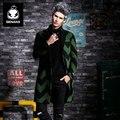 Genanx marca moda blusão longo casaco de lã cor da pelagem jovem coreano magro geométrica dos homens tamanho m-xxl