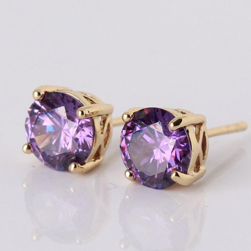 Best Quality 2017 Fashion Purple Rhinestones Stud Earrings Gold-color Earings for Women Jewelry Wholesale E032d