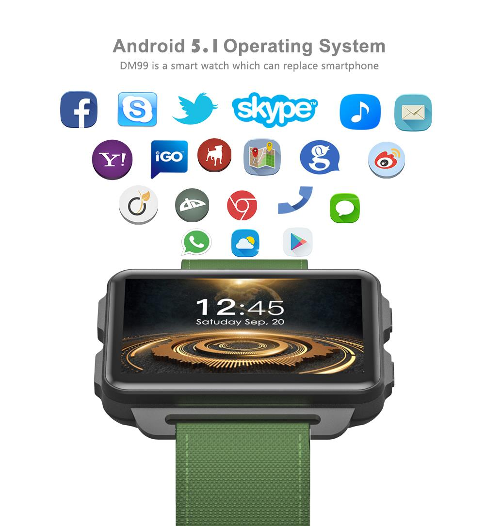 696 DM99 3G GSM smartwatch Android 5 1 OS 1GB RAM 16GB ROM 2 2 inch IPS  screen built in GPS wifi BT4 0 for Apple Iphone android