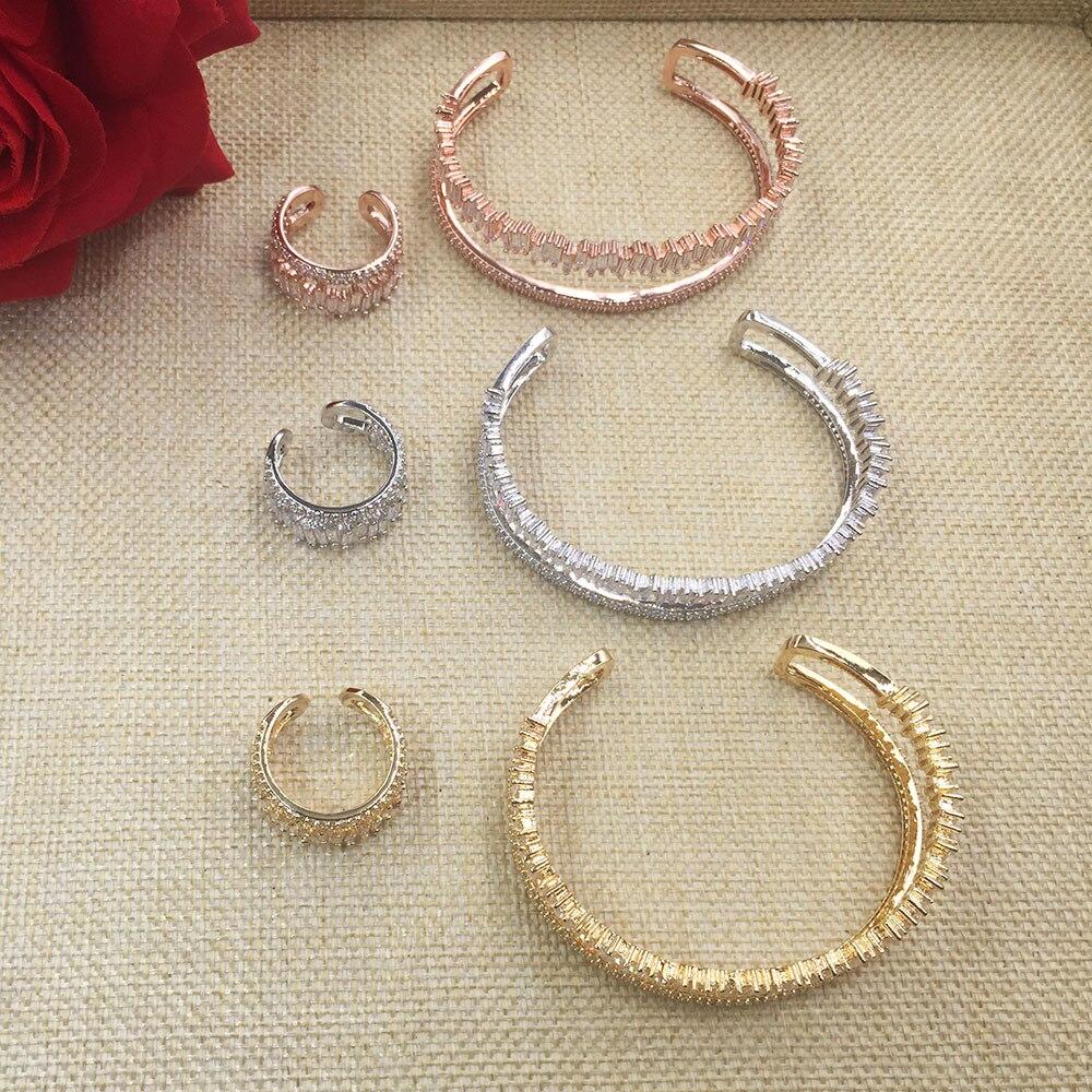 GODKI New Arrival Fashion Luxury 3 Colors Gemetry Super Shiny AAA Cubic Zirconia Women Baguette Bracelet Bangle And Ring Set