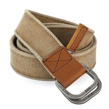 Double ring buckle woven canvas factory direct mens cotton retro leather belt