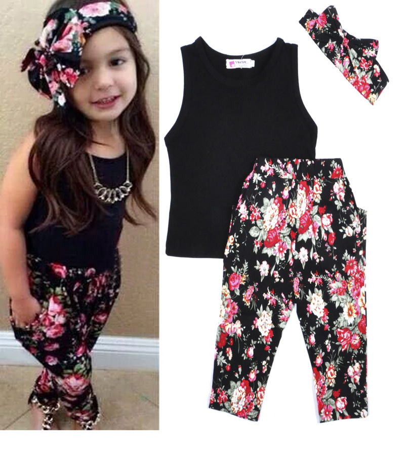Girls Clothes Suit Bow Hair Ring Vest T Shirt Saika Trouser Cute Baby Girl Summer Set Fashion
