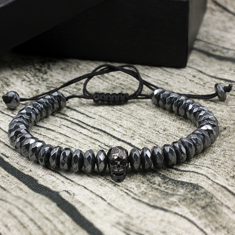 Brading Macrame Rhombus Cut Hematite Beads Bracelets Zircons Skull European American Weaving Mens Bracelets Punk Hiphop Jewelry