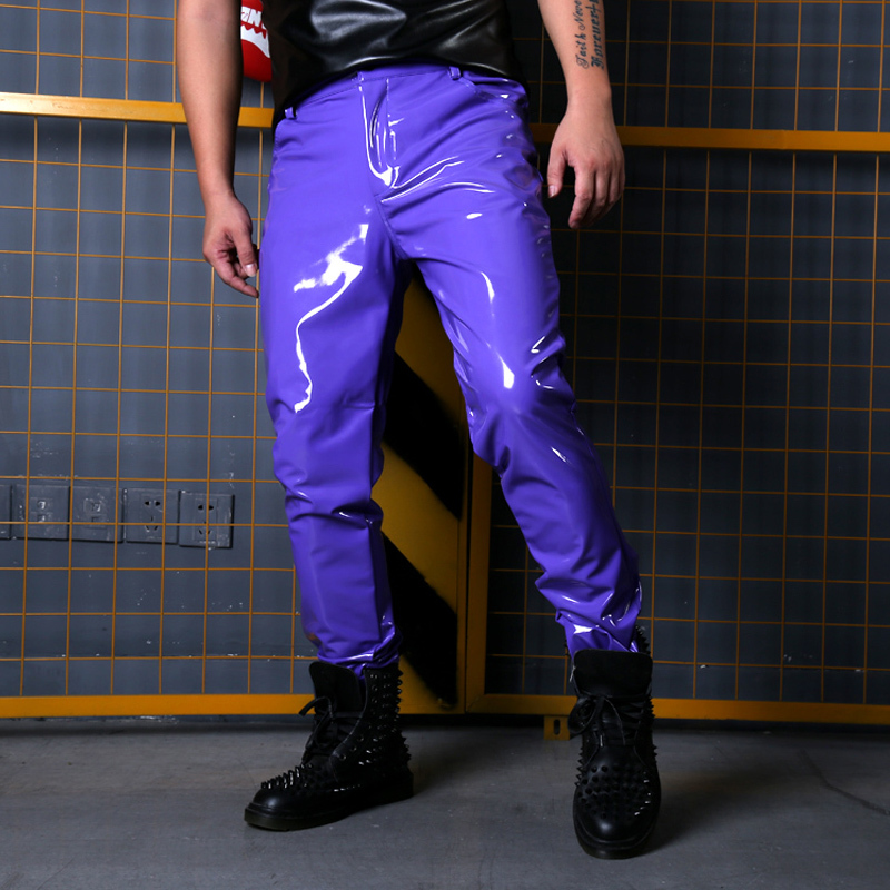 Fashion Show Singer Dancer Hip Hop Style Slim Fit Trousers Custom Made Stage Costumes Men Purple Casual Leather Pant Male