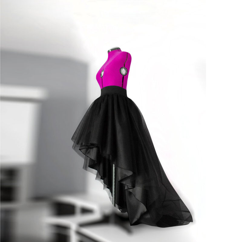 New Fashion Black High Low Tulle Skirts Womens Top Quality Asymmetrical Pleated Skirts Saia faldas Custom Made Any Colors Free