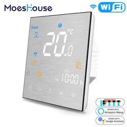 WiFi inteligentny termostat regulator temperatury do wody/elektryczne ogrzewanie podłogowe wody/gazu kocioł współpracuje z Alexa Google domu w Termometry od Narzędzia na