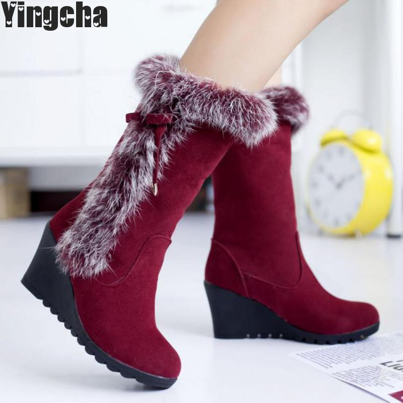 2018 New Fashion Winter Mid Calf Boots For Women Faux Fur Leisure Shoes Female Zipper High Heel Boots Big Size 34-39 new fashion superstar brand winter shoes embroidery snow boots tassel women mid calf boots thick heel causal motorcycles boots