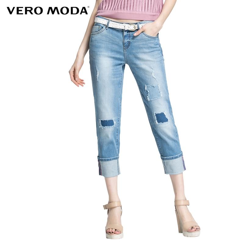 Vero Moda Brand NEW HOT women  Sexy cotton Vintage bleached patchwork calf-length Jeans Girl denim Trousers 31616I004 vero moda intimates бюстгальтер
