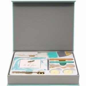 Image 5 - Nooit Lichtblauw Briefpapier Set Lakzegel Sets Kaart Enveloppen Veer Pennen Kit Gift Briefpapier Sets School En Kantoorbenodigdheden