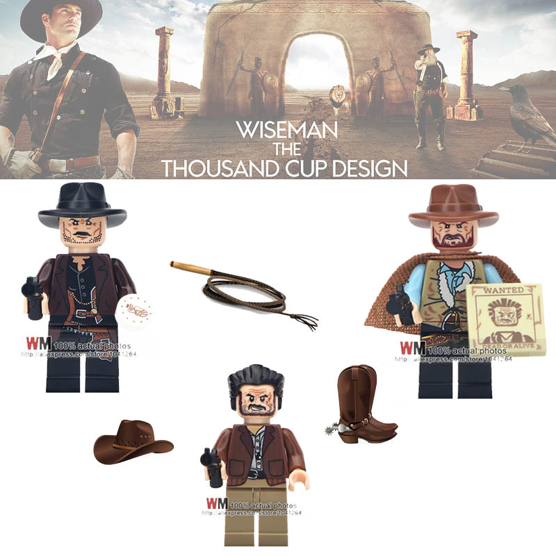 Single Legoingly Building Blocks Cowboy Costume with Hat Gun Trump E.T. Lost Boys Indiana Jones Minifigs Toys Children Gifts