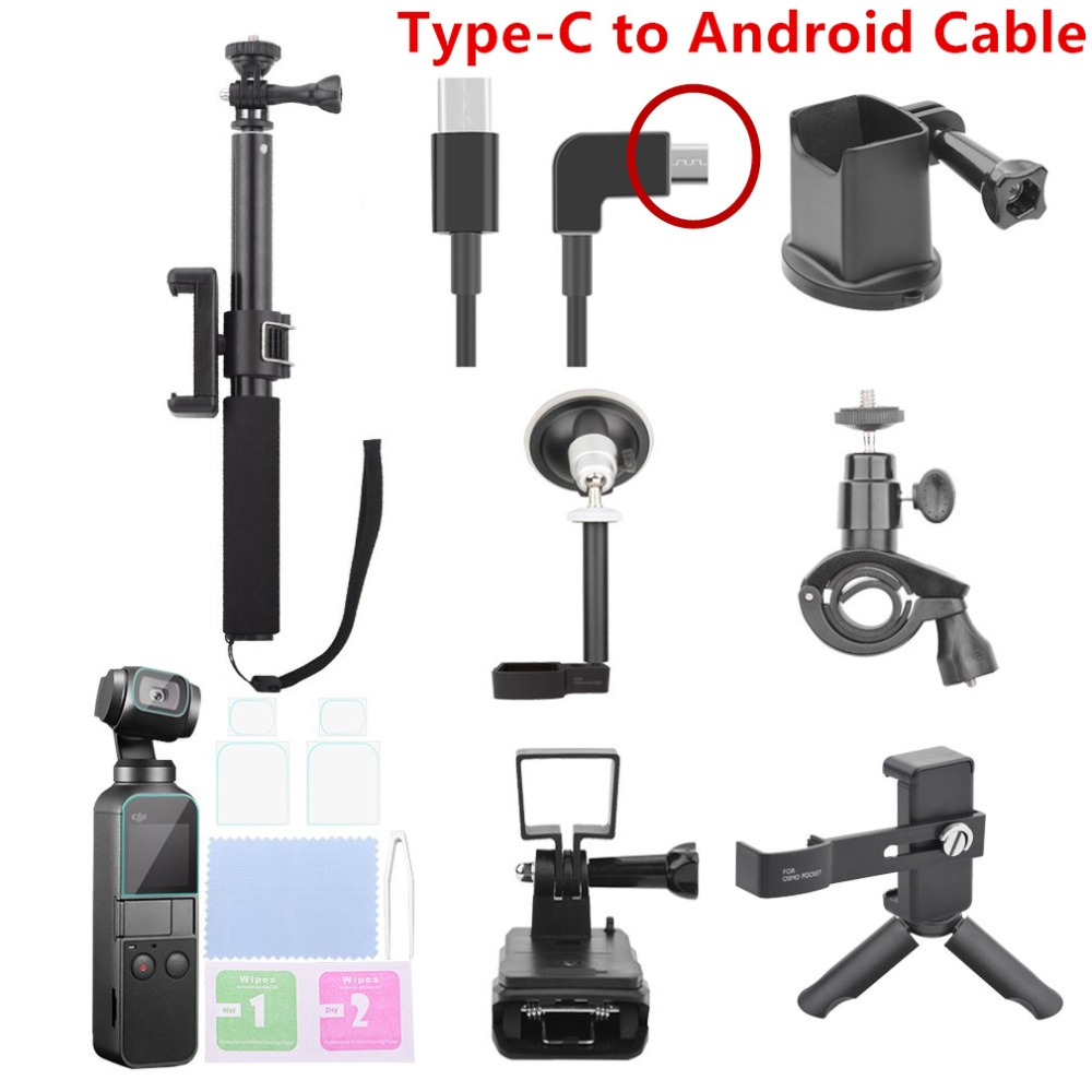 8 Pieces/Set DJI OSMO Pocket Camera Accessories Selfie Sticks Phone Clip Cover Android Data Cable Tripod All in One Package8 Pieces/Set DJI OSMO Pocket Camera Accessories Selfie Sticks Phone Clip Cover Android Data Cable Tripod All in One Package
