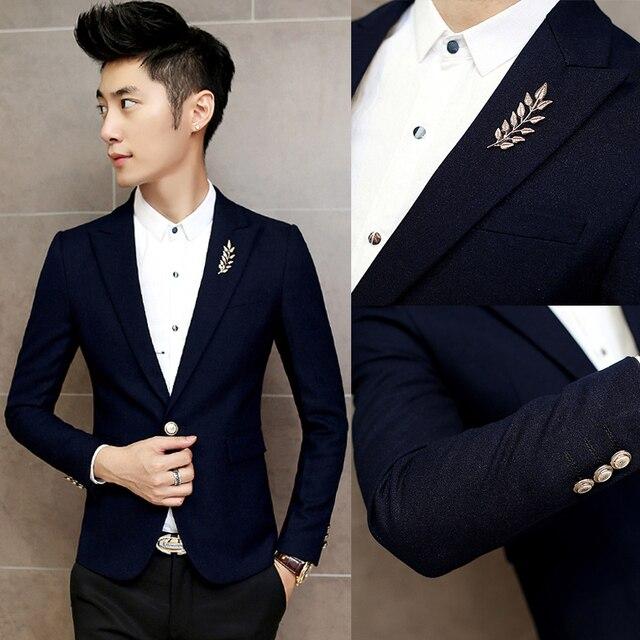 e0e5e45280583 2017 primavera sección de color puro pequeño traje Delgado de los hombres  juventud moda británico estilista