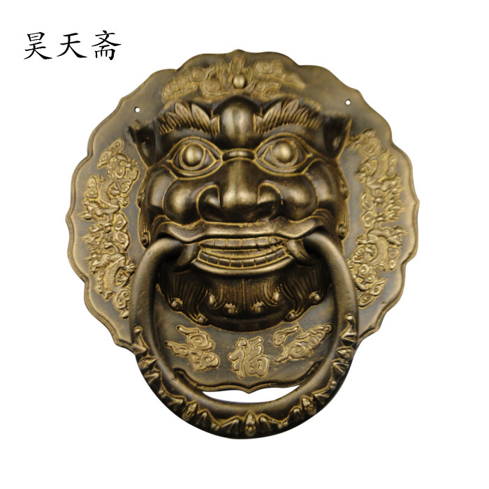 [Haotian vegetarian] Chinese ancient knocker handle copper ring copper beast lion head door handle King chinese antique copper fittings knocker copper handle big lion tiger beast head copper shop first hand ring gate