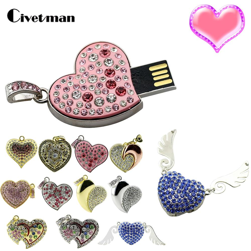 Lovely Crystal Various Heart Pendant USB Flash Drives Thumb Pendrive 128GB Flash Disk 8GB 16GB 32GB 64GB USB Flash Memory Stick