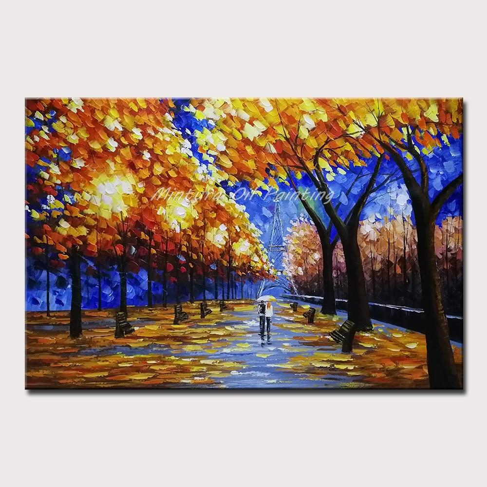 Минтура картины маслом на холсте ручной работы влюбленные в лесу Коридор Настенный Декор Картина акриловый Холст плакат искусство без рамки