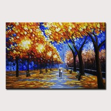 Mintura Oil Paintings on Canvas Handmade Lovers in The Forest Corridor Wall Decor Picture Acrylic Canvas Poster Art No Framed(China)
