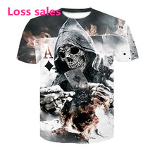 T-shirt 2018 Zomer Nieuwe mannen T-shirt 3D Skull & Poker Fashion Korte mouwen Tops Straat Ronde Hals T-shirt unisex casual tops(China)