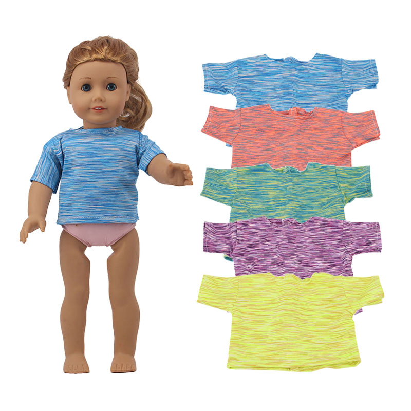 Doll Clothes 5 Solid Colors Striped-Shaped T-shirt&Panties For  18 Inch American Doll&43 Cm Born Doll For Generation Baby Girl`s